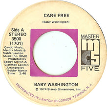 Load image into Gallery viewer, Baby Washington ‎– Care Free / Can't Get Over Losing You