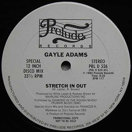 Gayle Adams ‎– Stretch In Out/Your Love Is A Life Saver 12