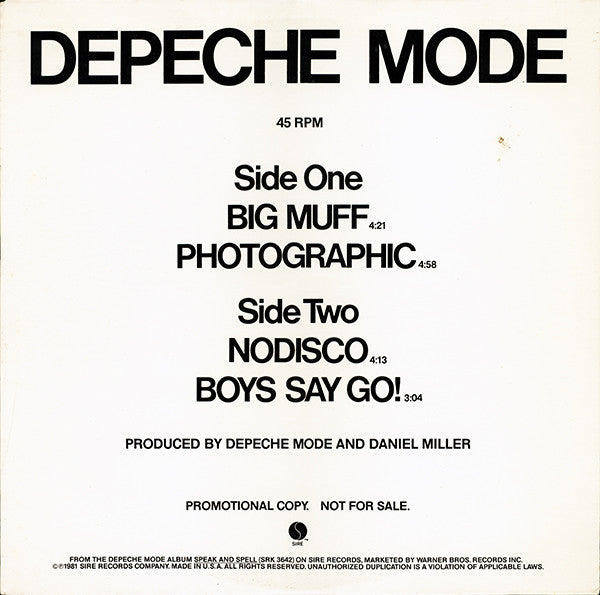 Depeche Mode ‎– Big Muff / Photographic / Nodisco / Boys Say Go!