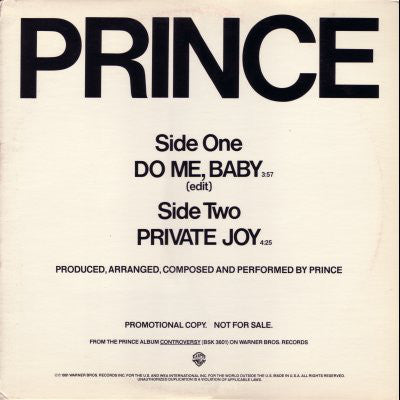 Prince - Do Me Baby / Private Joy