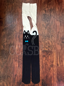 Cat Tights Blue Bow