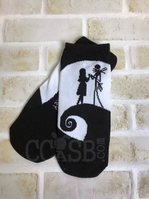Nightmare Before Christmas Jack & Sally No Show Socks