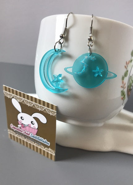 Planet and Moon Acrylic Earrings