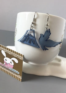 Bird And Mountain Acrylic Earrings