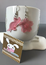 Load image into Gallery viewer, Cat And Sakura Flower Acrylic Earrings