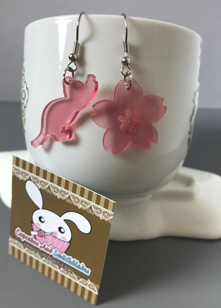 Cat And Sakura Flower Acrylic Earrings