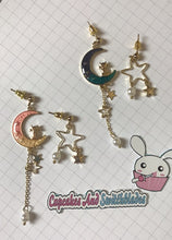 Load image into Gallery viewer, Cat on Moon Earrings Pink