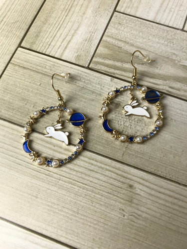 Space Bunny Wreath Dangle Earrings