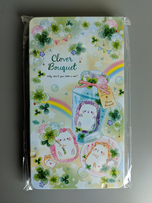 Lucky Clover Hedgehog Colored Pencil Tin