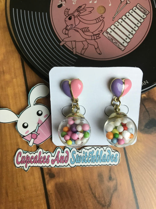 Gumball Heart Earrings