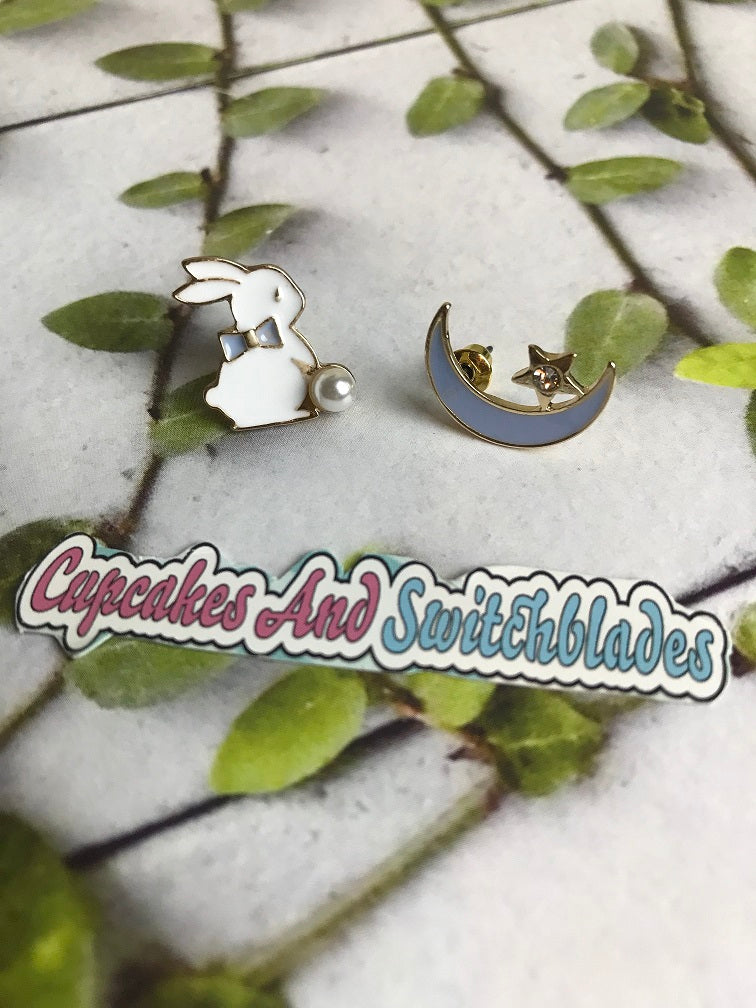 Blue Alice Bunny and Moon Asymmetric Earrings