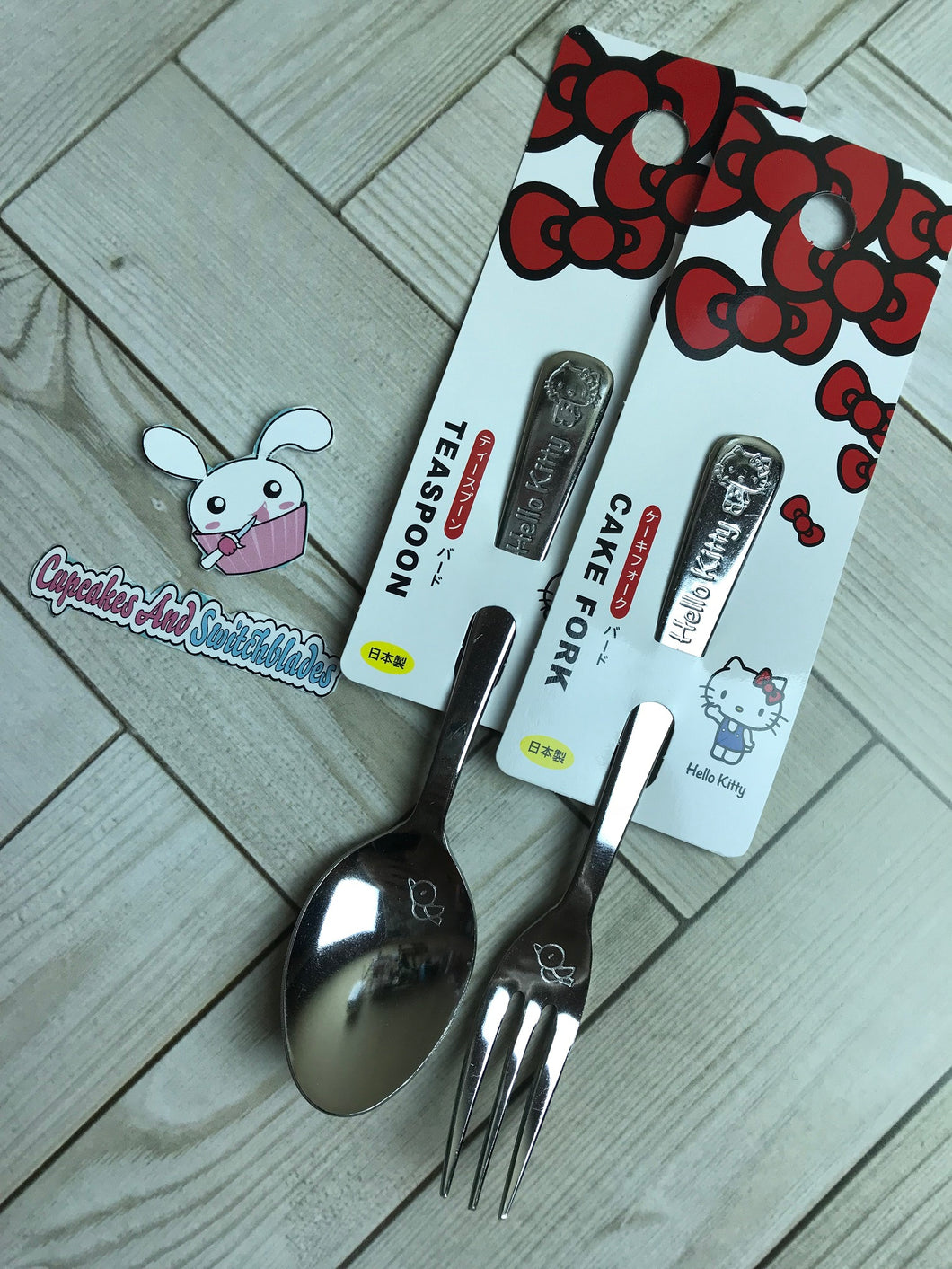 Hello Kitty Dessert Fork and Spoon Set