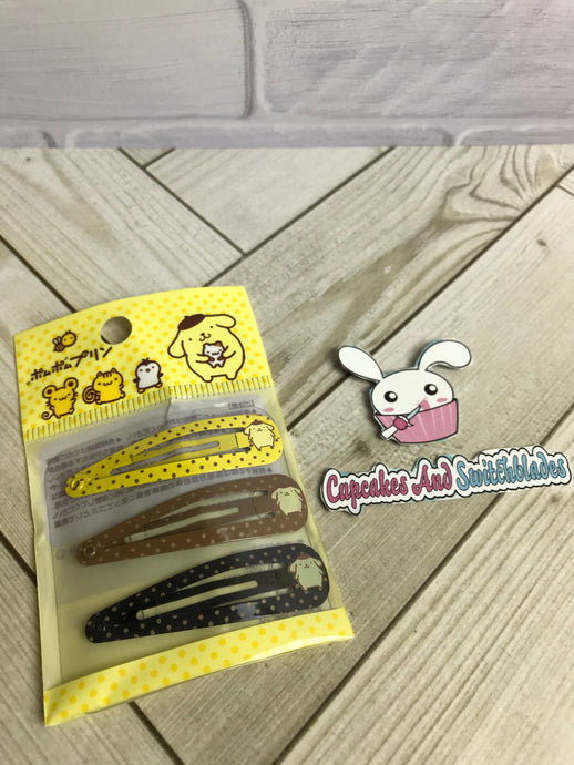 Pompompurin Metal Barrette Set