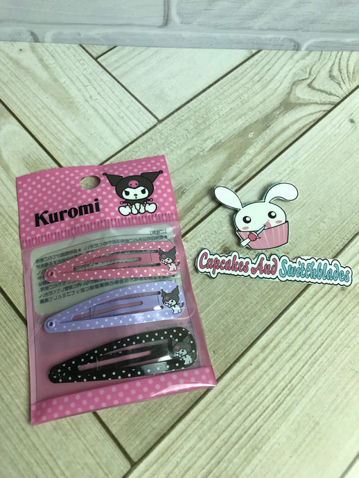 Kuromi Metal Barrette Set
