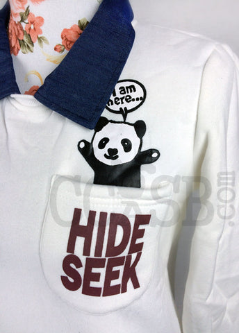 Hide and Seek Panda Collar Jumper