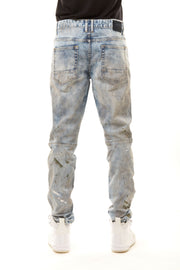 FASHION DISTRESSED RELAXED TAPERED JEANS - Smoke Rise Denim