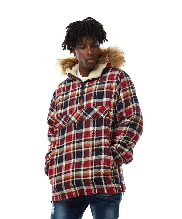 Yarn Dyed Plaid Pattern Anorak With Fur Trim Hoodie - Smoke Rise Varsity Jacket