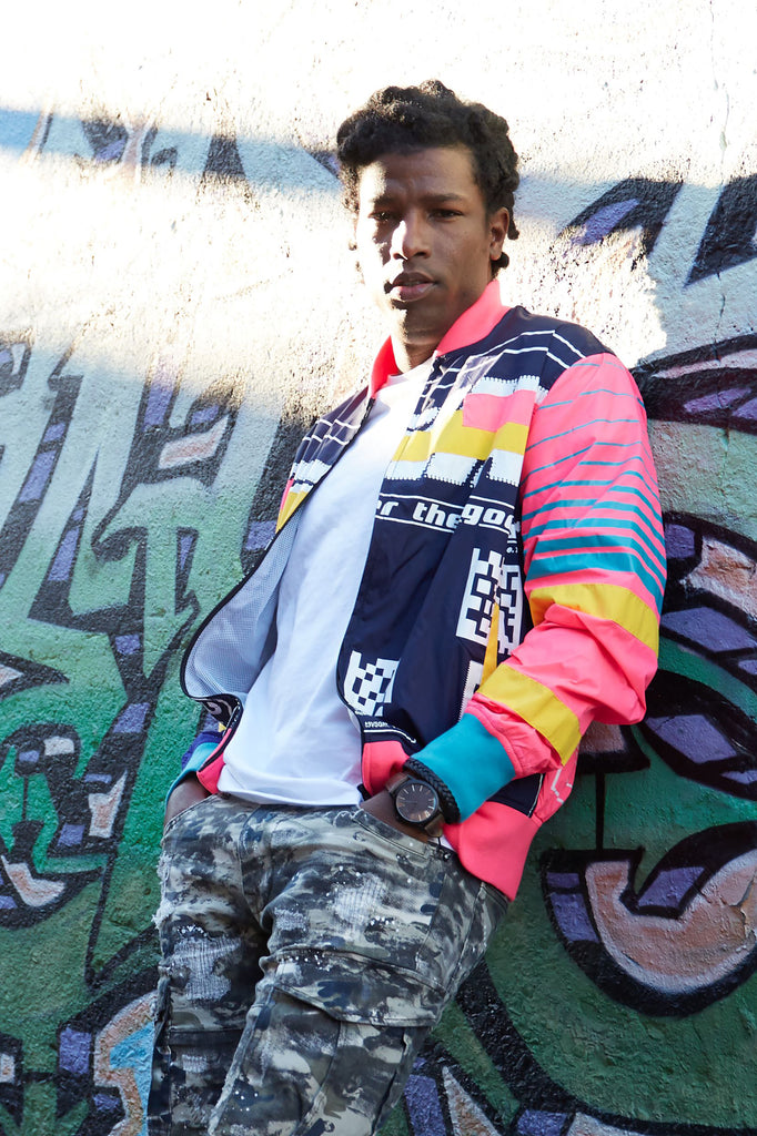 FASHION GRAFFITI NYLON JACKET - NAVY - Smoke Rise Denim
