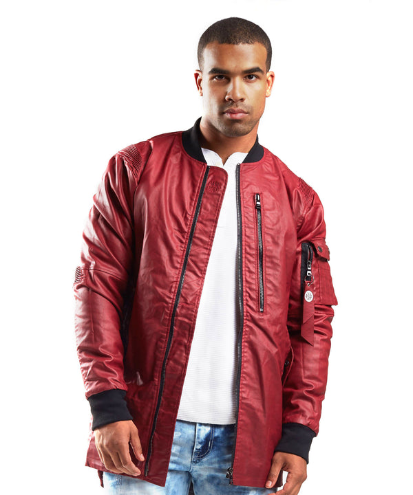 Wax Coated MA1 Long Bomber - Smoke Rise Varsity Jacket