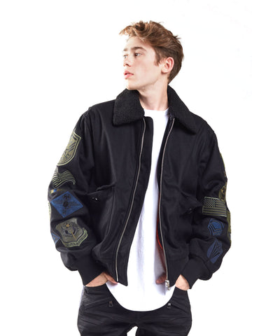 Wool Melton Multi Patch Jacket - Smoke Rise Varsity Jacket