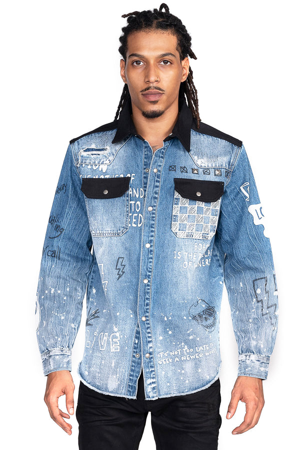 DOODLE DENIM SHIRTS - Smoke Rise Denim