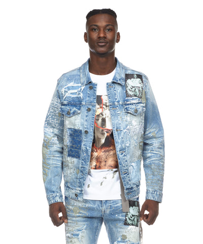 COLLAGE PATCH DENIM JACKET - Smoke Rise Varsity Jacket