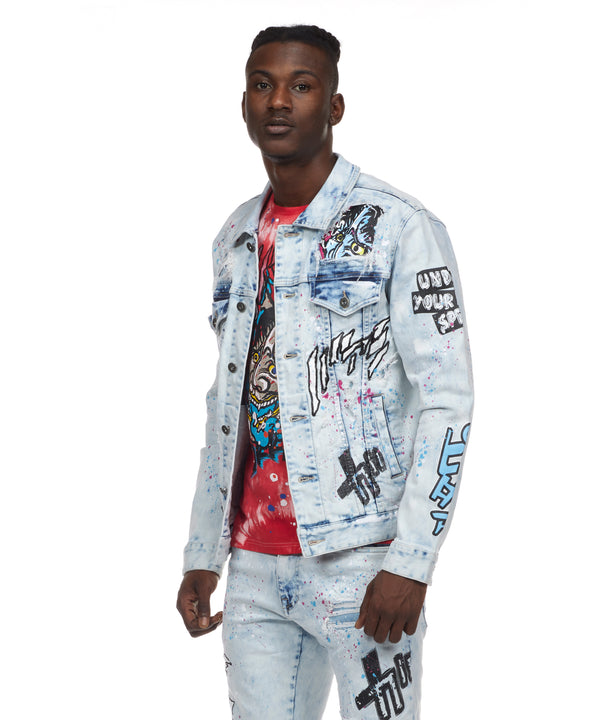Demon Graphic Denim Jacket - Smoke Rise Varsity Jacket