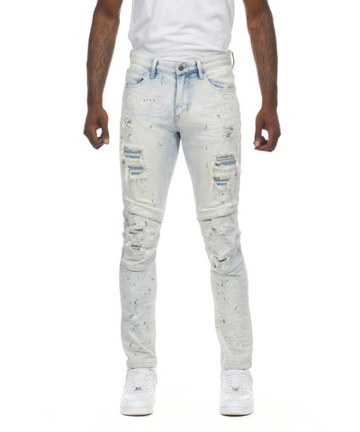 Rip & Repair Curved Knee Jeans - Smoke Rise Varsity Jacket