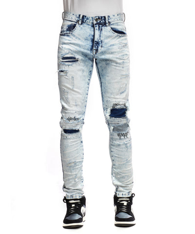 Thick Thread Stitch Denim Pants - Smoke Rise Varsity Jacket