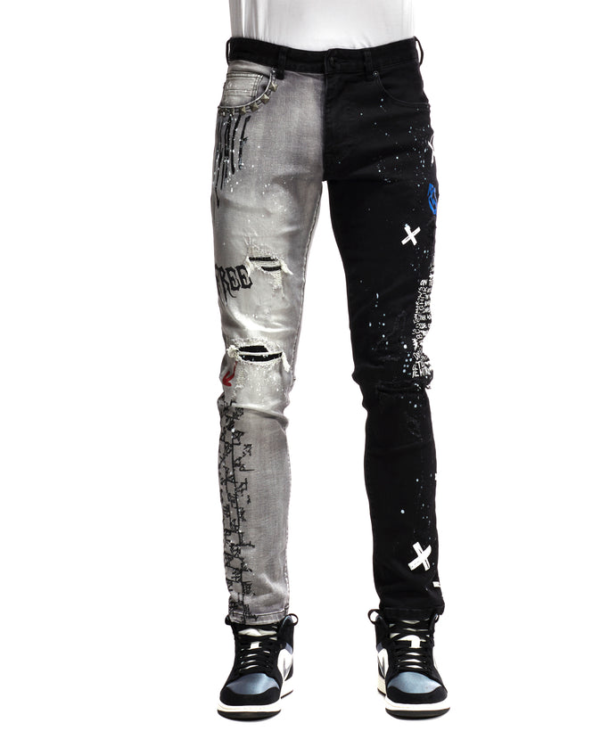 COLOR BLOCK DENIM PANTS - Smoke Rise Denim
