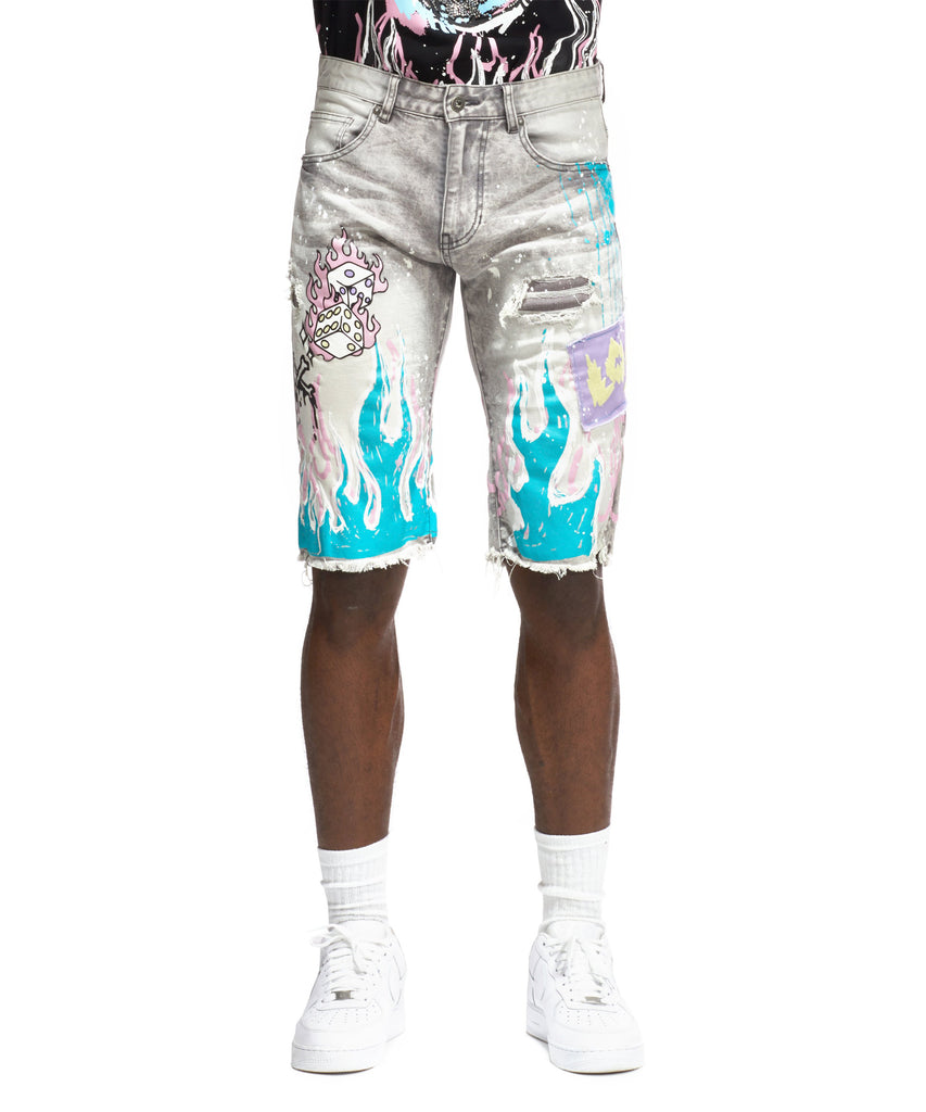Flame Graphic Denim Shorts - Smoke Rise Varsity Jacket
