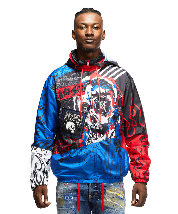 SKULL & FLAME GRAPHIC NYLON JACKET - Smoke Rise Varsity Jacket
