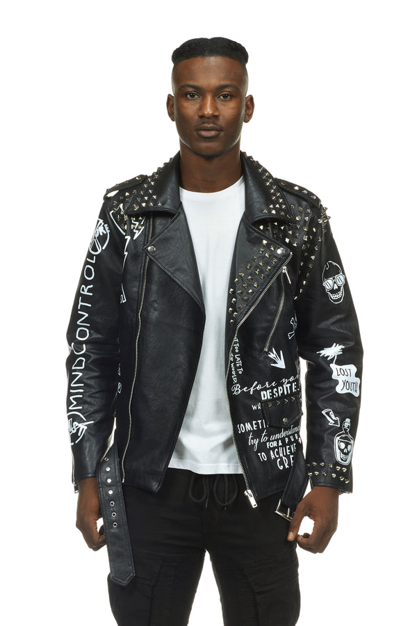 STUD BIKER JACKET - Smoke Rise Denim