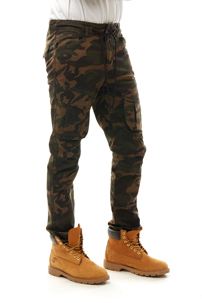 FASHION STRETCH MULTI CAMO CARGO PANTS - DARK WOOD CAMO - Smoke Rise Denim