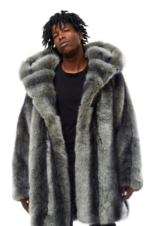 FULL FAUX FUR COAT - Smoke Rise Denim