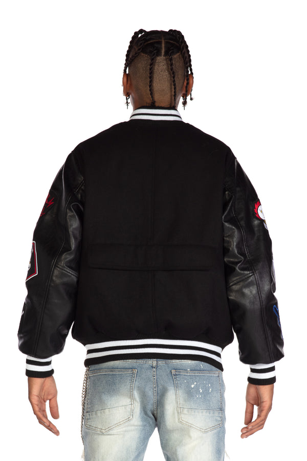 PUNK ROCK VARSITY JACKET - Smoke Rise Denim