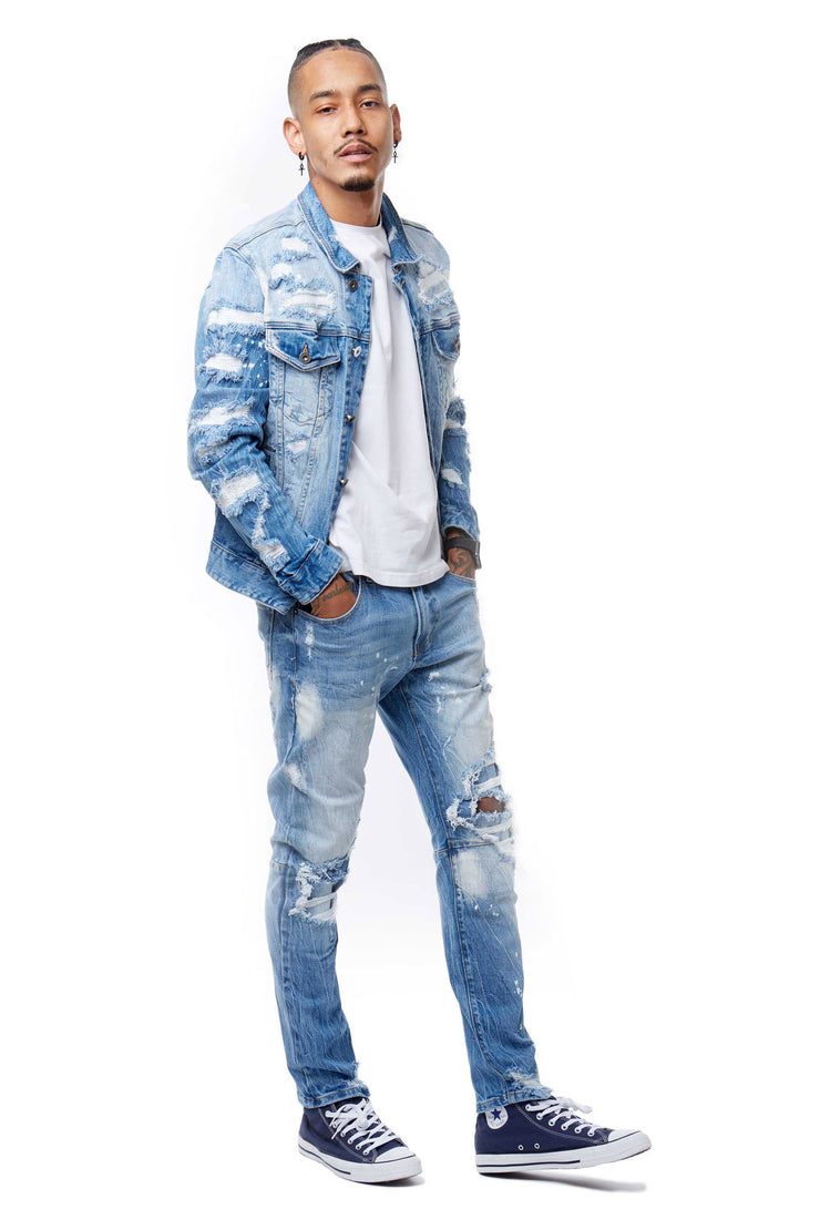FASHION RIP AND REPAIR DENIM JACKET - Smoke Rise Denim