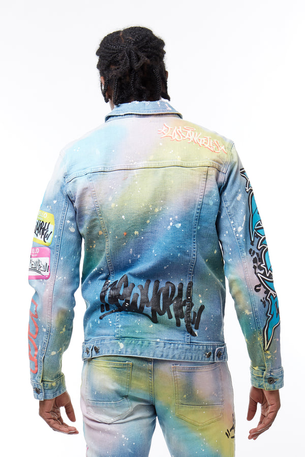FASHION GRAFFITI DENIM JACKET - Smoke Rise Denim