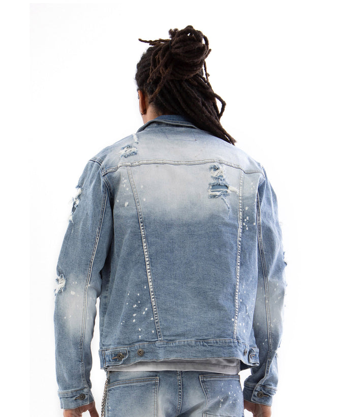 STUD DENIM JACKET - Smoke Rise Varsity Jacket
