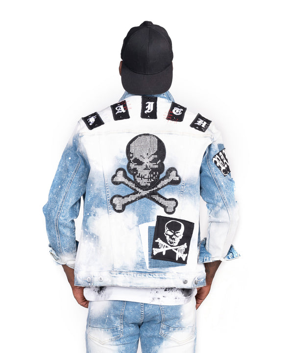 Jacket With Skull & Rhinestones - Smoke Rise Varsity Jacket