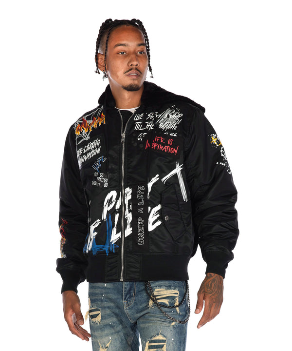 Hooded Bomber Jacket - Smoke Rise Varsity Jacket