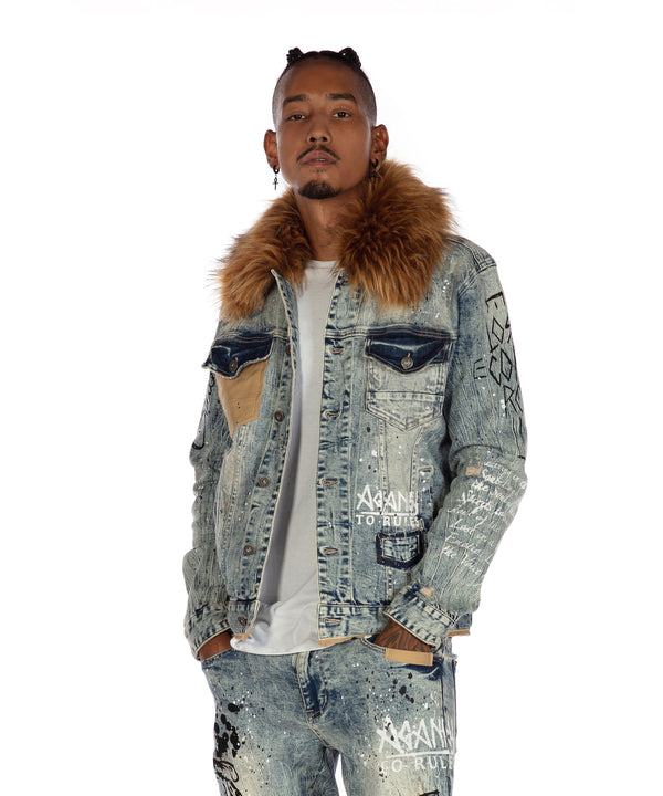 Faux Fur Collar Denim Jacket - Smoke Rise Varsity Jacket