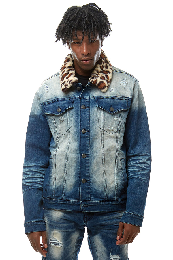 FUR COLLAR DENIM JACKET - Smoke Rise Denim