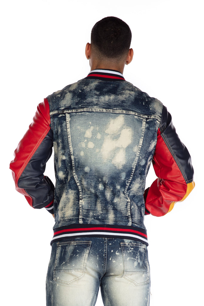 COLORBLOCK VARSITY JACKET - Smoke Rise Denim