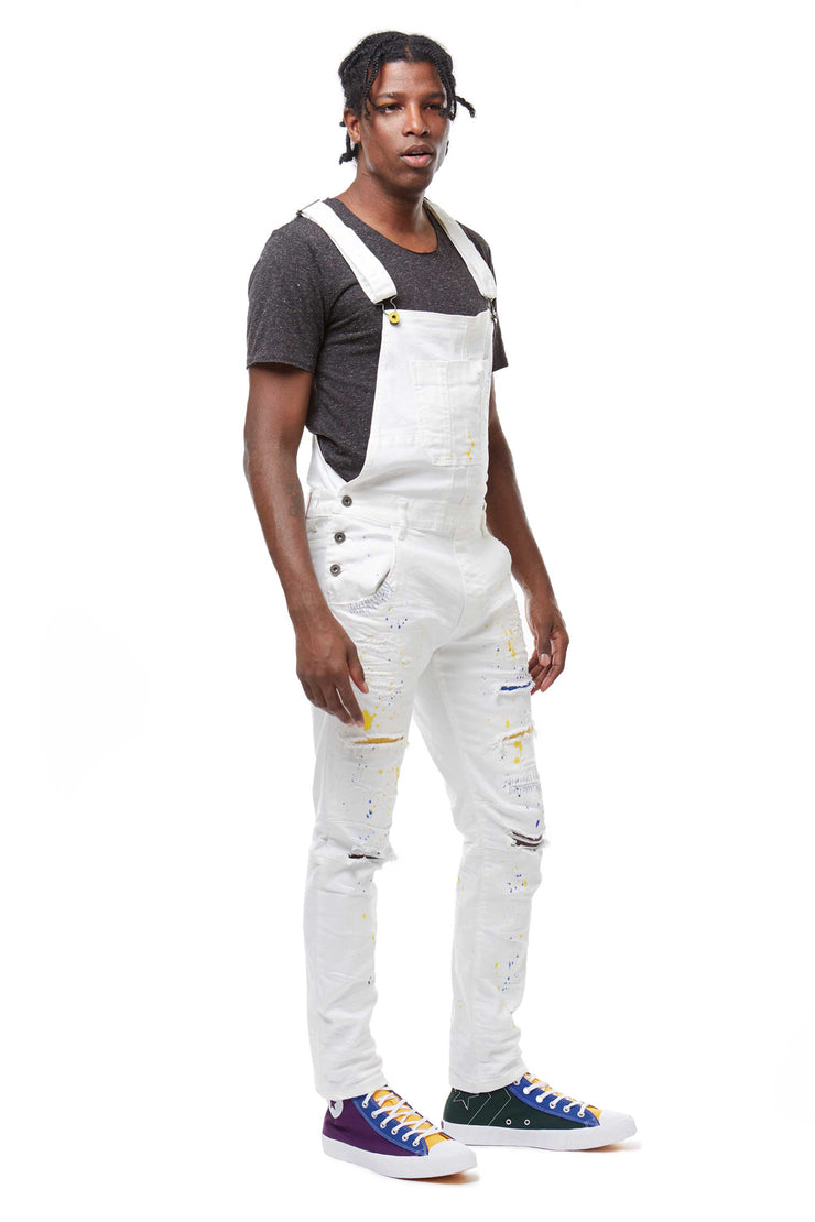 FASHION DENIM OVERALL WITH PAINT - Smoke Rise Denim