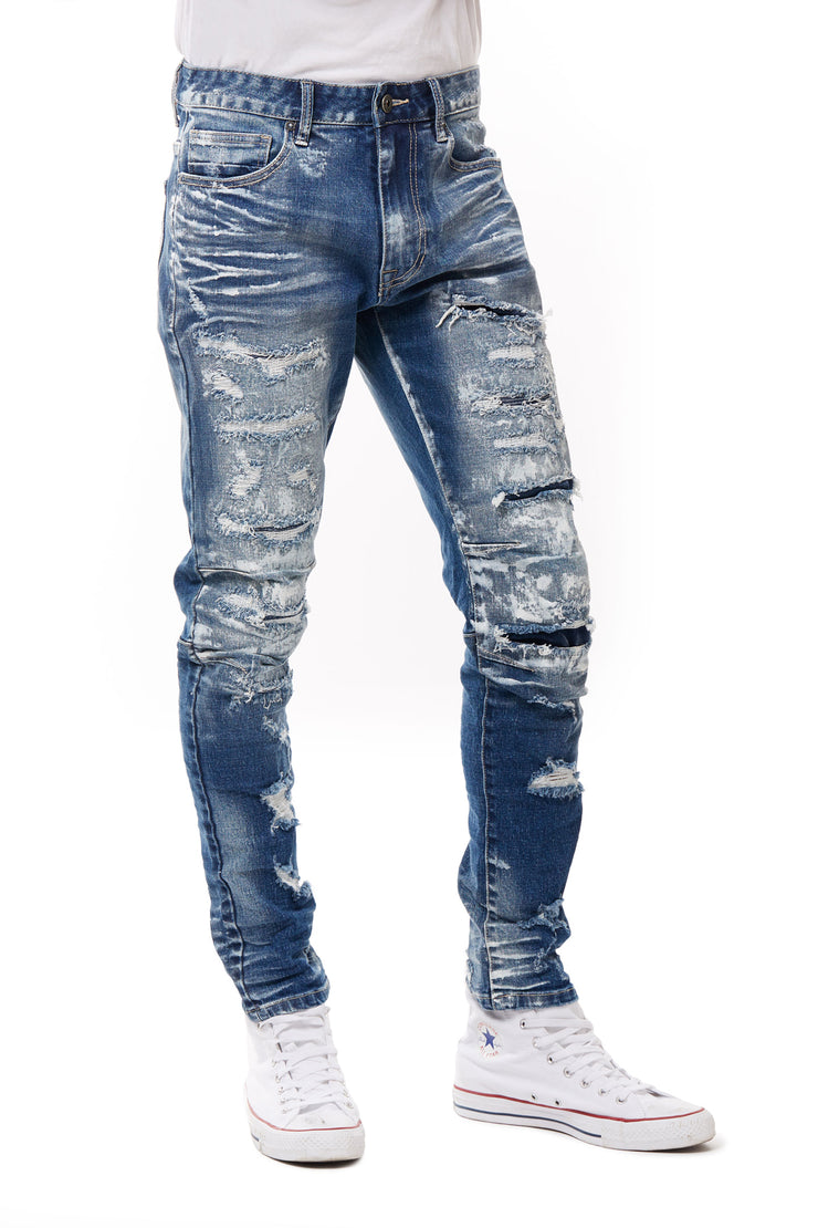 FASHION HEAVY RIP AND REPAIR JEANS - Smoke Rise Denim