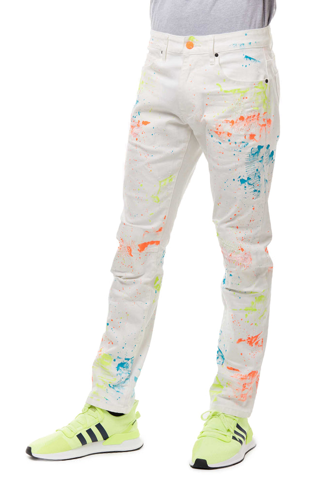 FASHION JEANS WITH PAINT - WHITE - Smoke Rise Denim