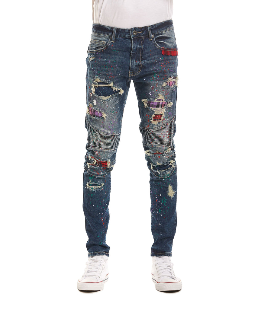 FASHION MOTO JEANS WITH PLAID BACKING - MID SUMMER BLUE - Smoke Rise Denim