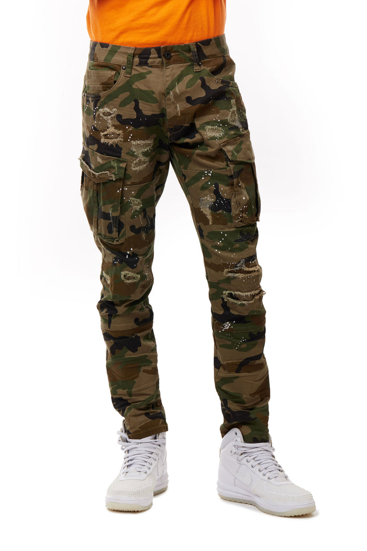 FASHION TWILL CARGO PANTS - Smoke Rise Denim