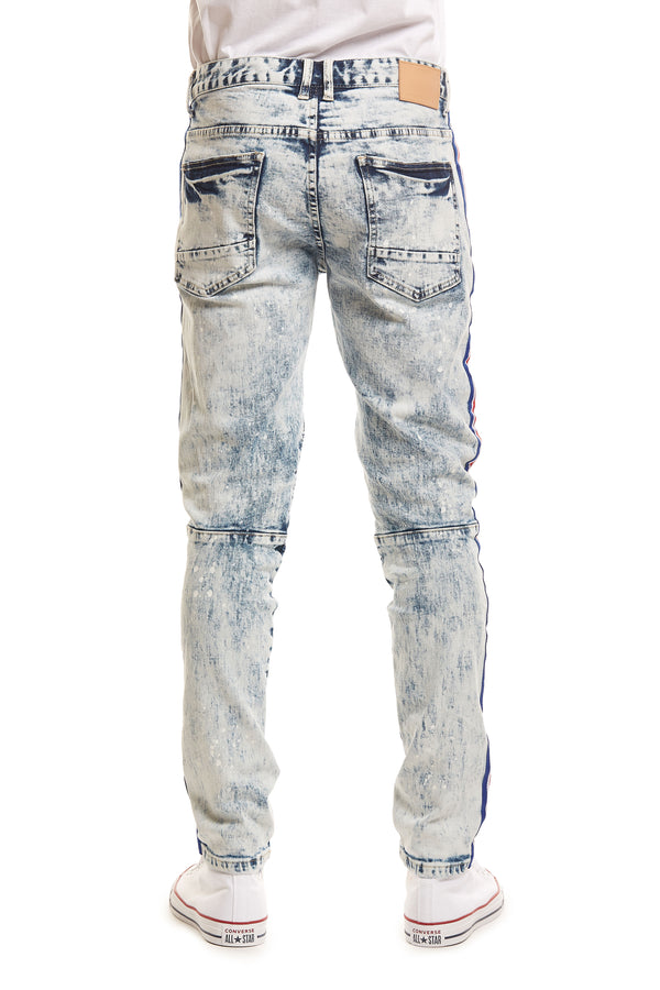 FASHION MOTO JEANS WITH SIDE STRIPE - Smoke Rise Denim